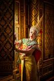 Kunstkultur Thailand-Tanzen in verdecktem khon in Literatur ramaya lizenzfreie stockfotografie