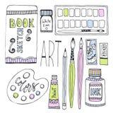 Kunstlevering voor tekening Schetsenvector met verven, palet, sketchbook en andere materialen wordt geplaatst dat royalty-vrije illustratie