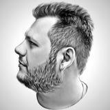 Kunstmannbild in der Schwarzweiss-Art Abbildung Porträt Stockfotografie