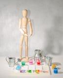 Kunstmannequinpalette und -farbe Lizenzfreie Stockbilder