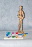 Kunstmannequinpalette und -farbe Stockbilder