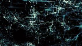 Kunstmatig Neuraal Netwerk Blauwe elektronische knopen in elektronische cyberspace royalty-vrije illustratie