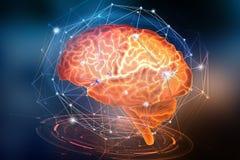 Kunstmatig Neuraal Netwerk Computerintelligentie op de zenuwcellen wordt gebaseerd van de menselijke hersenen die Modern ontwerpc stock illustratie