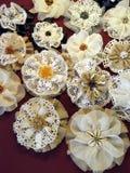 De stoffenbloemen van het linnen Stock Afbeelding