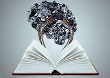 Kunstmatige die hersenen met boek worden verbonden Royalty-vrije Stock Afbeeldingen