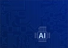 Kunstmatige intelligentie/AI concept als achtergrond met cpu/microchips Stock Foto