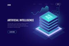 Kunstmatige intelligentie, AI isometrisch pictogram, computerhersenen, het rek van de serverruimte, grote gegevens, element voor  royalty-vrije illustratie