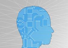 Kunstmatige intelligentie/AI of machine het leren/digitaliseringsconcept Vectorillustratie van hoofdsilhouet Royalty-vrije Stock Afbeeldingen