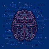 Kunstmatige intelligentie of AI vectorillustratie Digitale robothersenen met zekering en spaanders als futuristische virtuele per vector illustratie