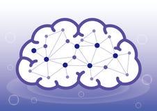 Kunstmatige intelligentie of binnen het menselijke hersenenbeeld stock illustratie