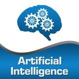 Kunstmatige intelligentie Brain Gears Blue Square Royalty-vrije Stock Foto's