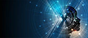 Kunstmatige intelligentie De achtergrond van het technologieweb Virtuele conc Stock Afbeeldingen