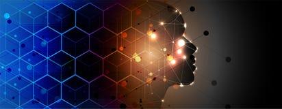 Kunstmatige intelligentie donker gezicht De achtergrond van het technologieweb Virtuele conc stock illustratie