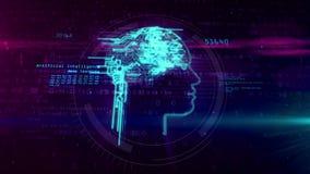Kunstmatige intelligentie en cybernetisch hersenenconcept stock footage