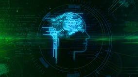 Kunstmatige intelligentie en cybernetische hersenen met de animatie van de gezichtsvorm vector illustratie