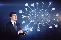 Kunstmatige intelligentie en cyberspace concept stock afbeelding