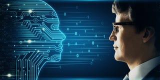 Kunstmatige intelligentie en neuraal concept stock fotografie