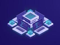 Kunstmatige intelligentie isometrisch pictogram, serverruimte, datacenter en gegevensbestandconcept, de toegang van de codebewaar royalty-vrije illustratie