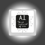 Kunstmatige intelligentie - knoop met een inschrijving A I en denk in plaats van me Royalty-vrije Stock Afbeelding
