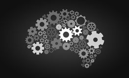 Kunstmatige intelligentie met menselijke hersenenvorm en toestellen Royalty-vrije Stock Afbeelding