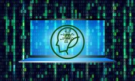 Kunstmatige intelligentie op digitale achtergrond - Vector royalty-vrije illustratie