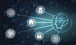 Kunstmatige intelligentie op digitale achtergrond - Vector stock illustratie