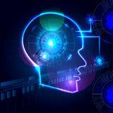Kunstmatige intelligentie Vector abstracte illustratie, technologie en wetenschapsachtergrond Stock Foto's