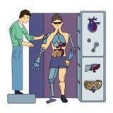 Kunstmatige interne organen Chirurgie van toekomst Chirurg en cyborg Vector illustratie, die op wit wordt geïsoleerdi royalty-vrije illustratie