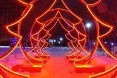 Kunstmatige Kerstboom rode dioden royalty-vrije stock foto's