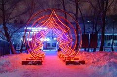 Kunstmatige Kerstboom rode dioden royalty-vrije stock fotografie