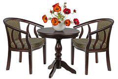 Kunstmatige papavers in een vaas op de rondetafel Royalty-vrije Stock Foto's