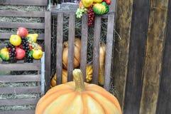 Kunstmatige pompoenen, fruit, houten rooster royalty-vrije stock foto's