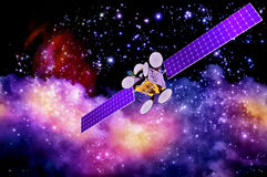 Kunstmatige satelliet tegen de achtergrond van de nevel Stock Afbeelding