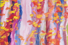 Kunstmeesterwerk Abstract olieverfschilderij Beeld dat door handen wordt geschilderd Penseelstreken van verschillende kleuren Mod stock illustratie
