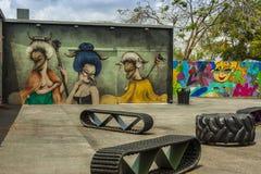 Kunstmuurschilderingen bij creatieve Wynwood en kunstendistrict in Miami Stock Afbeeldingen