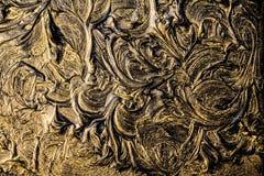 kunstolieverfschilderij Het zwarte gouden schilderen Abstractie Achtergrond Textuur royalty-vrije stock fotografie