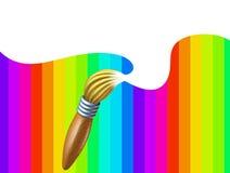 Kunstpinsel mit Regenbogen mit weißem unbelegtem Bereich Stockbild