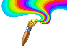 Kunstpinsel mit Regenbogenlackstrudel stock abbildung