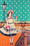 Kunstpostkarte, Weinleseart Stockbilder