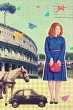 Kunstprentbriefkaar, uitstekende stijl Royalty-vrije Stock Fotografie