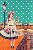 Kunstprentbriefkaar, uitstekende stijl Stock Afbeeldingen