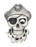 Kunstschädel-Pirat tatoo Stockbilder