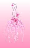 Kunstschets van bruid met roze bloemen Royalty-vrije Stock Fotografie