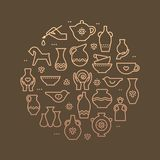 Kunstshop-Kreisschablone Tonwarenwerkstatt, Keramik klassifiziert Fahnenillustration Handgebäude, Ausrüstung gestaltend Vektor stock abbildung