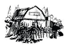 Kunstskizze des hübschen Dorfhauses Lizenzfreies Stockfoto