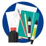 Kunstskizze mit flacher Ikone der Tinte und der Markierungen Stockfotos