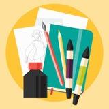 Kunstskizze mit flacher Ikone der Tinte und der Markierungen Lizenzfreies Stockfoto