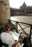 Kunststudent, der malt, St.Peter Basilika, Rom Stockfotografie