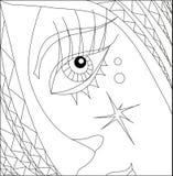 Kunsttherapie mit Färbungsteil des Mädchengesichtes mit Auge Lizenzfreie Stockfotografie