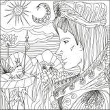Kunsttherapie mit Illustration von Prinzen und von Froschprinzessin mit Pfeil von den Märchen Stockfotografie